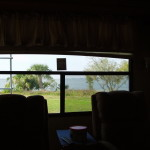 View through the back window of the RV 1
