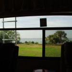 View through the back window of the RV 2