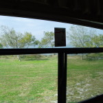 View through the back window of the RV 3